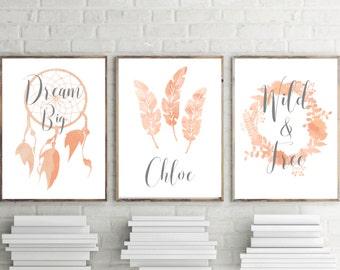 Set Of 3 Nursery Prints, Girls Peach Boho Watercolor Bedroom Wall Art, Personalised Nursery Print, Dreamcatcher, Feathers, Wreath A4 8x10