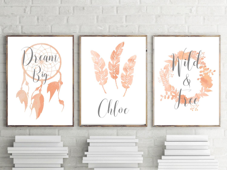 Set Of 3 Nursery Prints Girls Peach Boho Watercolor Bedroom