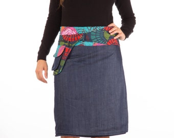 Reversible Denim and Cotton Skirt with flower print