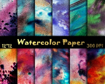 Watercolor scrapbooking paper Tie dye Digital Papers Summer watercolor Summer watercolor Digital Papers Shabby Digital Textures 12x12