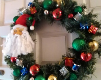 BRIGHT SANTA WREATH, just made artificial pine wreath with lots of pretty decorations, will ship fast 1-2 days