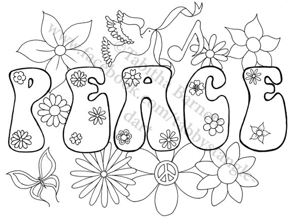 earth flower coloring pages   Peace on Earth Adult Coloring Page by TabbysTangledArt on Etsy