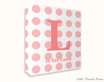 Luna, Polkadots, Canvas Print, Nursery Décor, Custom Baby Name, Congratulations, Kids Room Art, Nursery Print, Baby Girl [N12G335C]