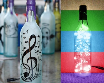 New- Music Notes - Wine Bottle Light - Frosted Pale Blue - Customizable + Color(s)&Adapter(s)- Gift For Him or Her.