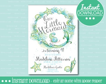 Mermaid Birthday Party Invitation -  EDITABLE - INSTANT DOWNLOAD - Editable File - Personalize - Edit Yourself with Adobe Reader-Printable