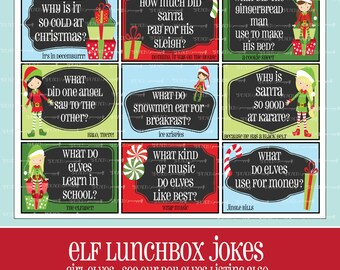 Girl ELF LUNCHBOX JOKES, Printable, Christmas, Lunchbox Notes for Kids, Girl Elves, Kids Jokes, Elf Cards, Elf Jokes,Girl, Digital, Elf