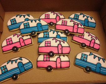 Travel Trailer theme Decorated Cookies