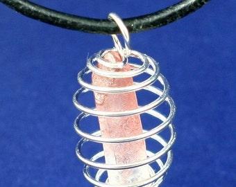 Spiral Cage Rough Pink Lumerian Quartz Point Necklace