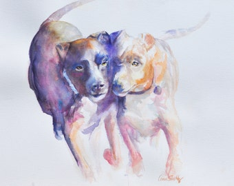 Pitbulls   - Fine Art Print