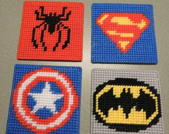 Superhero Coasters-- Batman,  Captain America,  Spiderman and Superman