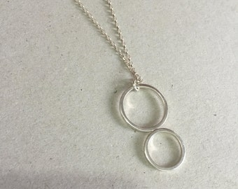 sterling silver necklace, geometric necklace, circle necklace, Minimalist necklace, Minimalist Jewelry, Geometric Jewelry,