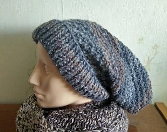 Gray knit hat, very large hat, men's hat, handmade hat