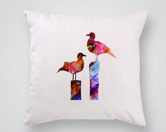 Bird Pillow Cover - Birds Home Decor - Decorative Throw Pillow - Colorful Accent Pillow