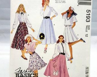 McCalls Pattern 5193 ~  Misses Full Circle Skirt Size 12 ~ 3 Lengths ~ Halloween ~ Costume ~ Pin Up ~  Poodle Skirt ~ Sock Hop ~ Uncut FF