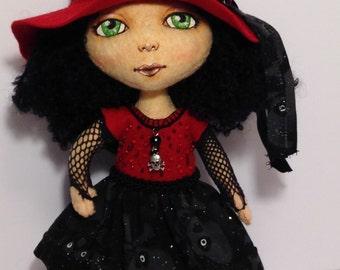 Wool Felt Doll Hand Sewn, OOAK Art Doll, Pocket Poppet, Drusilla the Gothic School Girl