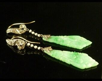 Antique Earrings - Art Deco Long Jade Diamond & Pearl Earrings