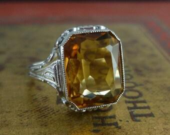 Art Deco 6ct Citrine 18ct White Gold Ring