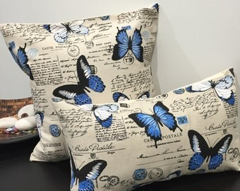 """18""""/20"""" Blue Butterflies Linen French Country Cushion Cover. Made Australia"""