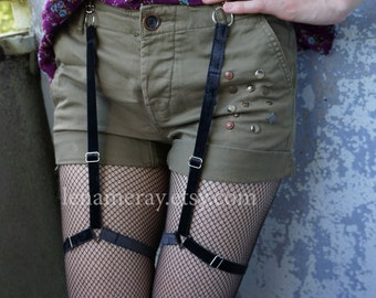 Garters with straps Suspenders for shorts punk goth style Velvet ribbon