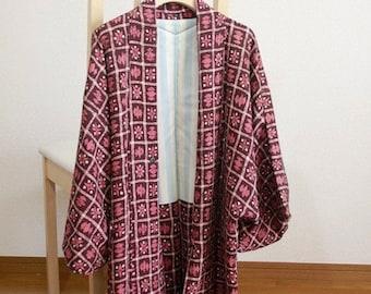 Batik print of the dark red  jacket/haori/michiyuki