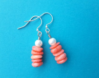 Coral Chips and Glass Pearls Stacks . Earrings.