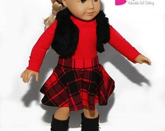 American made Girl Doll Clothes, 18 inch Girl Doll Clothing, Red Top, Skater Skirt, Fur Shrug made to fit like American girl doll clothes