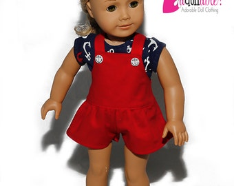 American made Girl Doll Clothes, 18 inch Girl Doll Clothing, Nautical Top, Red Shortalls made to fit like American girl doll clothes