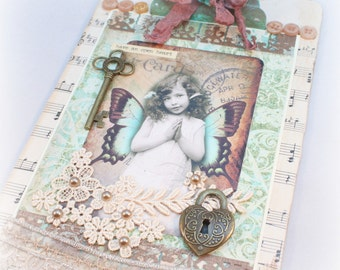 Mixed Media Art, Altered Clipboard, Angel Girl, Butterfly Girl, Wall Decor, Art Collage, Assemblage, Home Decor, Vintage Style, Office Decor