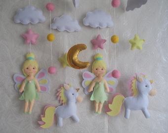Baby crib mobile Fairy -Unicorn mobile -baby mobile-nursery mobile-baby kit mobile-girl mobile-baby bedding-felt kit from felt