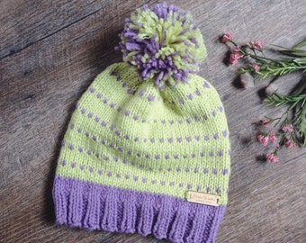 "Handmade Childrens Cute and Cozy Winter Knit Hat with Pom Pom ""The Savannah"" in Soft Fern Green & Lavender Light Purple"