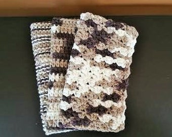 Dish Cloth Set Handmade Crochet Cotton Dish Rags Wash Cloths (set of 3) Yarn Knit Brown Cream
