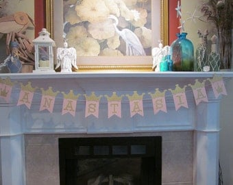 Princess Crown Birthday Banner, Mantle Garlands, Personalize with Name, Sweet 16 Party, Baby Shower Garland