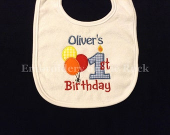 Birthday bib, 1st birthday bib, first birthday bib, personalized, birthday bib boy, embroidered