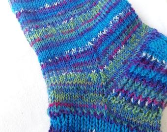 Hand knitted men socks. Blue socks. Wool socks. Warm and soft men socks.