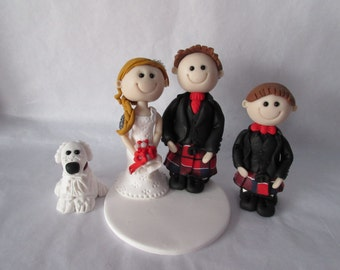Wedding cake topper - Custom made Personalised wedding cake toppers. Bride & Groom figures with family Tartan
