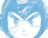 Mega Man Blue Pencil Face Sketch