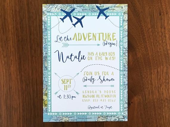 adventure maps baby shower invite airplane baby shower, Baby shower invitations