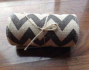 Grey & White chevron Burlap/ Burlap Roll / Chevron