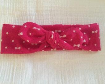 Pink Top Knot Headband, Pink Bows, Baby headband, toddler, Holiday Headband