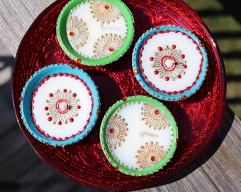 Set of 2 Hand Decorated Diwali Diyas