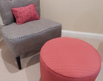 Red Upholstered Ottoman