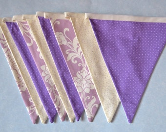 Purple Fabric Bunting | Flower and Spots | Wedding Garland Banner