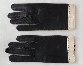 Vintage black leather glove to mark ivory GIMP André Ciganer Paris size 6 1/2