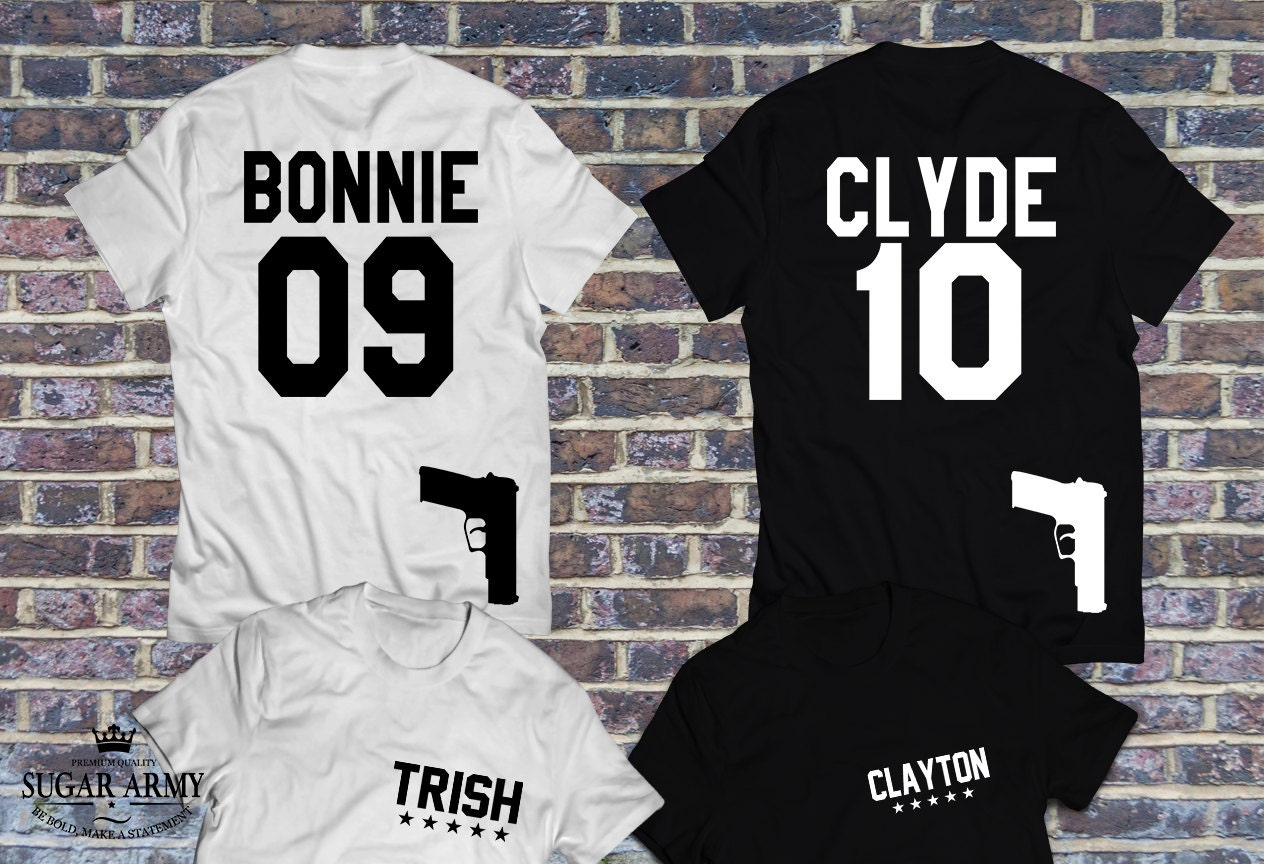 special edition bonnie and clyde shirts with guns custom. Black Bedroom Furniture Sets. Home Design Ideas