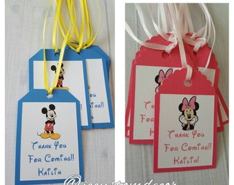 Minnie Mouse Tags- Mickey Mouse Tags- Mickey Tags-Minnie Tags -Minnie Mickey Mouse Favor Tags