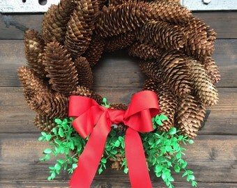 Pine Cone Wreath Christmas Wreath Winter Holiday Wreath Advent Wreath Natural Wreath