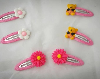 Girls pink hair clips