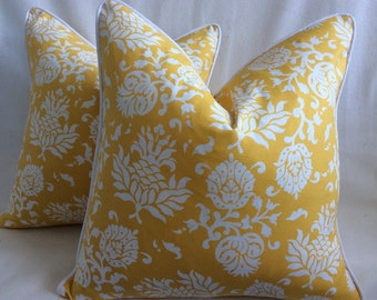 Sunny Yellow Designer Pillow Covers - Damask Print - 2pc Set - 20x20 Square