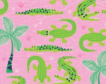 Pink Crocodile Fabric, Blend See You Later range, Aligator Fabric, 100% Cotton, Girls Fabric, Childrens Fabric, UK Supplier