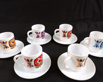 Rare service has coffee espresso mobile seventies / mobile cups / mugs vintage / arcopal france / design mobile / vintage france / vintagefr /.